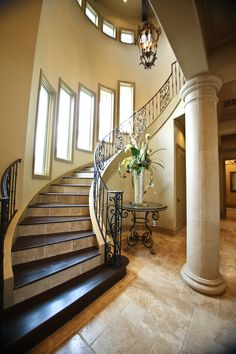 17 best The Villa Lago   Design Tech Homes images on Pinterest     Beautiful half spiral staircase in a massive Italian Mediterranean style  home custom built by Design Tech