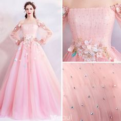 Flower Fairy Candy Pink Prom Dresses 2019 A-Line / Princess Off-The-Shoulder Puffy Long Sleeve Appliques Flower Beading Rhinestone Floor-Length / Long Ruffle Backless Formal Dresses Source by Dresses 2019 Puffy Prom Dresses, Prom Dresses Long With Sleeves, Quince Dresses, Wedding Dresses For Girls, Formal Dresses For Weddings, Beautiful Prom Dresses, Pretty Dresses, Bridesmaid Dresses, Pink Dresses