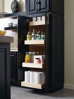 These roll trays, by Thomasville Cabinetry, bring the back of the shelf to you, so no more reaching or straining required. Barn Kitchen, Thomasville Cabinetry, Decor, Home Kitchens, Kitchen Cabinets Makeover, Home Office Cabinets, Bathroom Design Decor, Home Decor, Blue Bathroom Decor