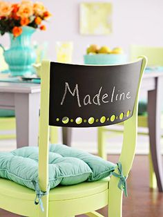 Use chairs you already own or find a mismatched set at a thrift store. Paint them any color and let dry completely. Use the chalkboard spray paint and apply 2-3 coats to each chair back, making sure you cover or tape off any surrounding areas of the chair.