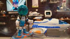 New Miles form Tomorrowland toys include a 3-in-1 transforming Stellosphere, Superstellar blast board used for balance games, Maximum Miles talking figure, several space cruisers, action figures and Miles' pet robo-ostrich, Merc.