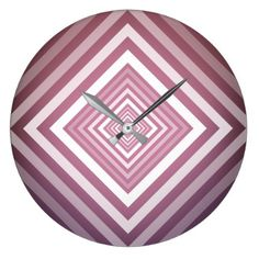 Modern Pink & White Gradation Squares Large Clock - home gifts ideas decor special unique custom individual customized individualized