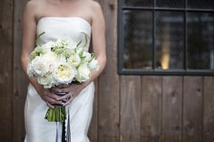 White peony and parrot tulip bridal bouquet | Everest Road Photography | see more on: http://burnettsboards.com/2014/05/style-bistro-wedding-reception/
