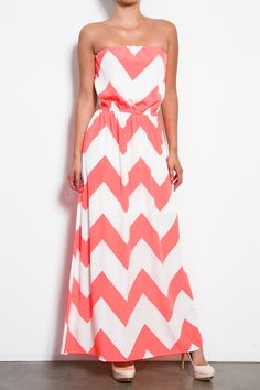 Pink Paradise Chevron Dress