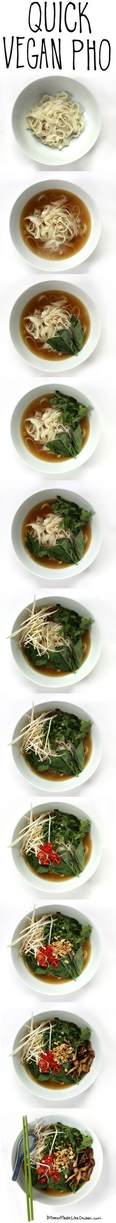[V] Quick Vegan Pho. 30 minutes to make. Very nutritious. Great for fighting away winter colds! Vegan Soups, Vegan Dishes, Vegetarian Recipes, Vegan Food, Vegetarian Pho, Quick Vegan Meals, Whole Food Recipes, Cooking Recipes, Baker Recipes