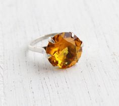 Vintage Sterling Citrine Orange Stone Ring - Retro Size 5 Statement Cocktail Ring Jewelry / Golden Oval by Maejean Vintage on Etsy, $42.00