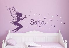 Raina's room...Baby Girl Room Decor Fairy Wall Decal w/ Blowing Stars Vinyl wall art Wall Decals for Nursery Wall Sticker DecalIsland- Fairy SD 081 on Etsy, $42.00