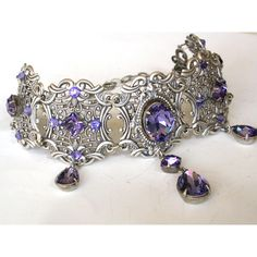 Tanzanite Swarovski Crystal Choker - Victorian Gothic Bridal Silver... ($177) ❤ liked on Polyvore featuring jewelry, necklaces, choker, silver heart necklace, chain choker necklace, heart choker necklace, gothic cross necklace and silver choker necklace
