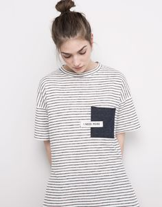 SHORT SLEEVED T-SHIRT WITH POCKET - T-SHIRTS & TOPS - WOMAN - PULL&BEAR Albania
