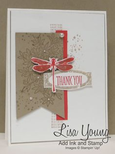 Stampin' Up! Awesomely Artistic stamp set. dragonfly on Kraft and white. Handmade card by Lisa Young, Add Ink and Stamp