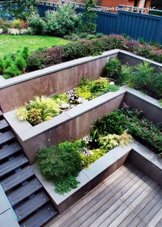 Gardening 279715826835917602 - multi level concrete retaining walls wooden deck contemporary landscape design Source by dcmetromodern Retaining Wall Design, Building A Retaining Wall, Concrete Retaining Walls, Concrete Walls, Retaining Wall Patio, Sloped Backyard Landscaping, Sloped Garden, Garden Beds, Landscaping Ideas