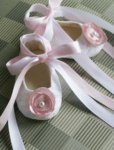 Baby Toddler Shoe Couture Ballet Slipper White Lace with Pink Cloth Flower - Off-white, Pink, Lilac, and Beige also available - Baby Souls Coco Series