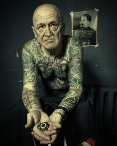 "tattooed veteran For those who ask ""what about when you're old?"" I hope I look like this....This man is beautiful, just beautiful"