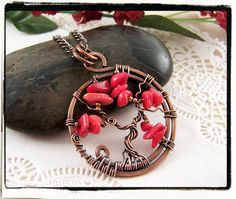 Red Coral Sled Tree of Life Pendant with Chain