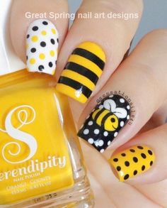 Its a love affair with honey bee. Get swanky and let your imagination loose! nail art designs 2019 nail designs for short nails step by step kiss nail stickers best nail stickers best nail polish strips 2019 Spring Nail Art, Nail Designs Spring, Cute Nail Designs, Spring Nails, Striped Nail Designs, Summer Nails, Cute Nails For Spring, Nail Designs For Kids, Fruit Nail Designs