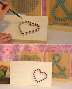 DIY houten kaart met spijkerhart