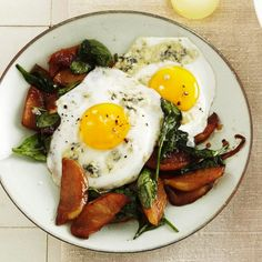 Egg & Wilted Spinach Salad with Apples