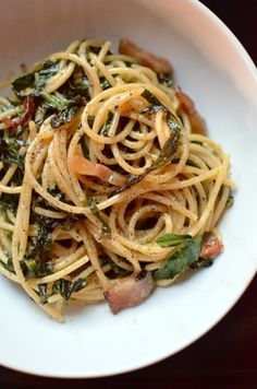 // Spaghetti & Collard Greens...skip the salt, go very light on the cheese and use mushrooms instead of pancetta