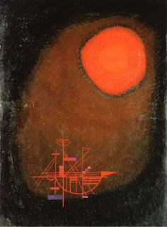 Wassily Kandinsky, Red Sun and Ship, 1925 Wassily Kandinsky, Abstract Words, Abstract Art, Abstract Expressionism, Franz Marc, Orange Art, Red Sun, Paul Klee, Art Moderne