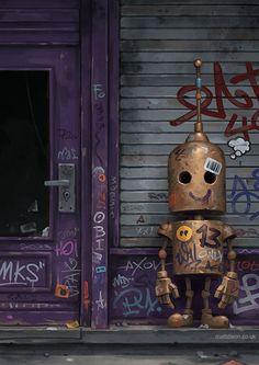 Robot Graffiti – – Graffiti World Arte Robot, Robot Art, Character Concept, Character Art, Concept Art, Graffiti, Art And Illustration, Fantasy Kunst, Fantasy Art