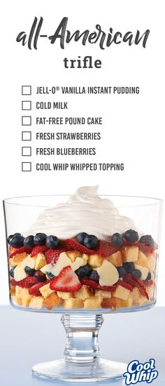 All-American Trifle – Show your colors this Memorial Day with the red, white, and blue stripes found in this deliciously simple trifle. Dive into the light taste of sponge cake, COOL WHIP whipped topping, and fresh fruit in this no-bake dessert recipe.
