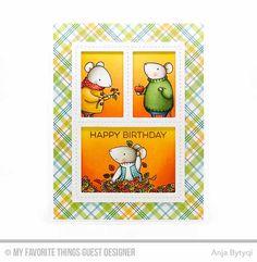 Handmade Card from Anja Bytyqi featuring Essential Sentiments stamp set, Birdie Brown Harvest Mouse stamp set and Blueprints 1 and Blueprints 29 Die-namics #mftstamps