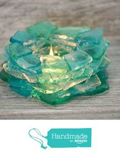 1 Beach Glass Tea Light Candle Holder - Beach Decor from Seashore Secrets http://www.amazon.com/dp/B016CMKKXG/ref=hnd_sw_r_pi_dp_3DYfwb1J263QH #handmadeatamazon
