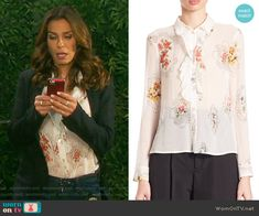 87276cb4cff4 Hope s floral ruffled front blouse on Days of our Lives. Outfit Details   https
