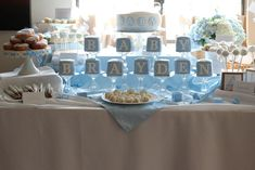 Boy baby shower dessert table