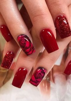 Rose Nails, Flower Nails, Pink Nails, Long Red Nails, Rose Nail Art, Fabulous Nails, Gorgeous Nails, Pretty Nails, Hair And Nails