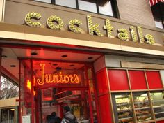 Junior's on Flatbush Ave. in Brooklyn, NY. The best cheesecake on Earth.
