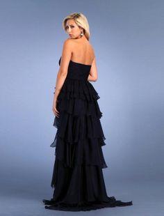 2011 Style A-line Strapless Asymmetrical Sleeveless Elastic Woven Satin and Chiffon Prom Dress / Evening Dress
