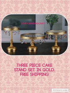 Birthday Cake stand. Beautiful 3 piece gold by Lovetobakeandcraft