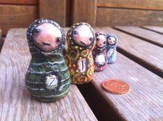 A Minikin Family and a Minikin Bunny/Human hybrid named Jack - POTTERY, CERAMICS, POLYMER CLAY
