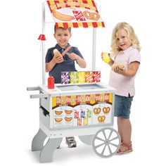 Snacks & Sweets Food Cart and over 7,500 other quality toys at Fat Brain Toys. Take imaginative play fun to the market with your very own food cart! Hot dogs or ice cream, it's entirely up to you. Just flip the sign, write down your prices, and start cooking! This cart has everything you need for the ultimate sidewalk business.