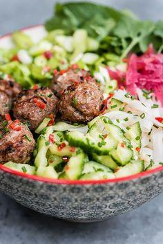 Vietnamese Pork Meatballs with Rice Noodle Salad (Bun Cha)