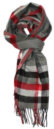 Plaid Cashmere Feel Men's Winter Scarf Black, Gray, Red