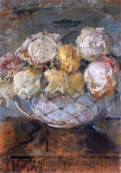 Olga Boznanska, Roses Róże w wazonie ? Olej na tekturze. 47 x 34 cm. Własność prywatna.