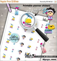 60%OFF - Clean Windows Stickers, Printable Planner Stickers, Clean Up Stickers, Erin Condren, Kawaii Stickers, Window Cleaner, Planner Acces