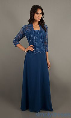 Floor Length Lace Embellished with Jacket at SimplyDresses.com
