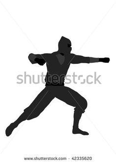 Male ninja silhouette illustration on a white background by KathyGold, via ShutterStock