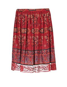 Dark Coral Lace Border Print Knee Length Skirt- M and S - Autumn 2014