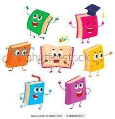Set of funny book characters, mascots, cartoon vector illustration isolated on white background. Humanized, childish books with smiling faces, arms and legs, school, education concept, design elements