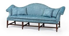 A Chippendale upholstered camelback sofa, New York, circa 1785, 94 in. long