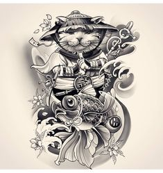 Awesome cool design done by Japanese Tattoo Artist, Japanese Tattoo Symbols, Japanese Tattoo Designs, Japanese Sleeve Tattoos, Japan Tattoo Design, Cat Tattoo Designs, Asian Tattoos, Arabic Tattoos, Samurai Tattoo