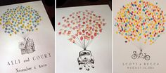 """Guest sign in with thumb prints. Maybe the thumb prints could be the balloons on the """"Up"""" house. Wedding Guest Book, Our Wedding, Dream Wedding, Wedding Reception, Wedding Car, Class Auction Projects, Auction Ideas, Art Auction, Silent Auction"""