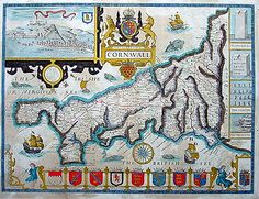 John Speed Antique map of Cornwall 1676