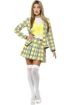 Buy Adult Clueless Cher Costume, available for Next Day Delivery. Adult Clueless Cher Costume comes complete with the Yellow Plaid Patterned Jacket with Gold Buttons along with the Matching Shirt and Mock Waistcoat Top. Fashion Kids, Fashion Male, Fashion Models, 90s Fashion, Fashion Outfits, 90s Party Costume, Cher Costume, Hallowen Costume, Cher Clueless Halloween Costume