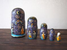 Russian matryoshka nesting doll, 5 pieces  Made of lime tree. Hand painted with tempera. As a basis is taken the traditional painting of the Russian North – Boretsk painting. All the subjects are unique and depict traditional Russian way of life. It will become a wonderful designer piece of your interior.  SIZES: the biggest figure: height 16,5 cm (6.4 in), diameter 8,5 cm (3.3 in); the smallest: height 4 cm (1.5 in), diameter 2,3 cm (0.9 in).  CARE: clean with slightly wet cloth if…