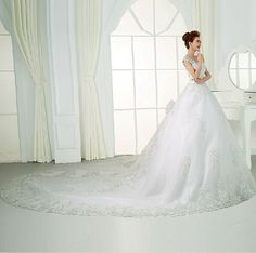 2016 V Neck Wedding Dresses Luxury Sweetheart crystals cathedral bridal gown New #Unbranded #BallGown #Formal